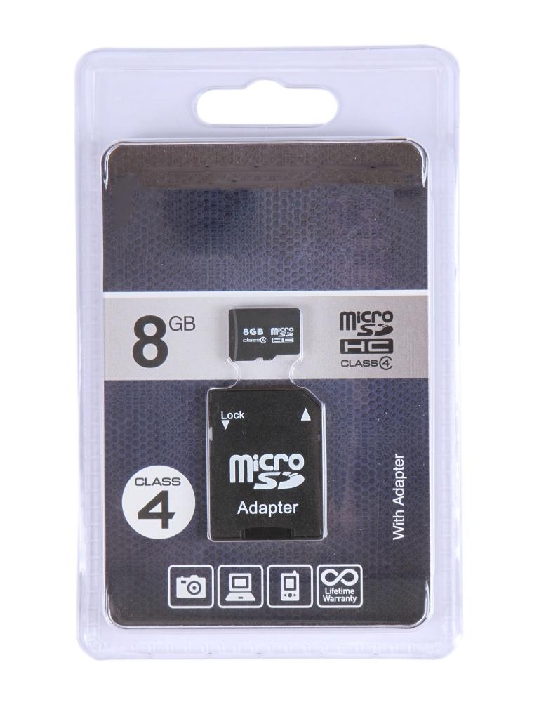 Фото - Карта памяти 8Gb - OltraMax Micro Secure Digital HC Class 4 OM008GCSDHC4-AD с переходником под SD карта памяти 8gb olmio micro secure digital hc class 10 39120