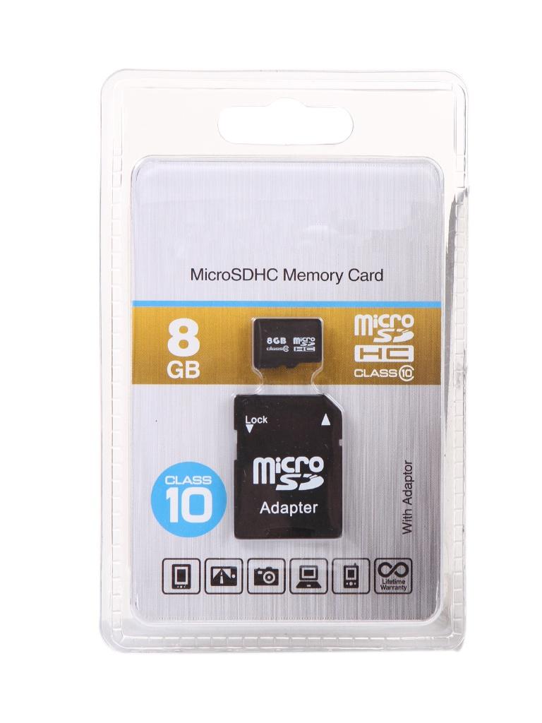 Фото - Карта памяти 8Gb - OltraMax Micro Secure Digital HC Class 10 OM008GCSDHC10-AD с переходником под SD карта памяти 8gb olmio micro secure digital hc class 10 39120