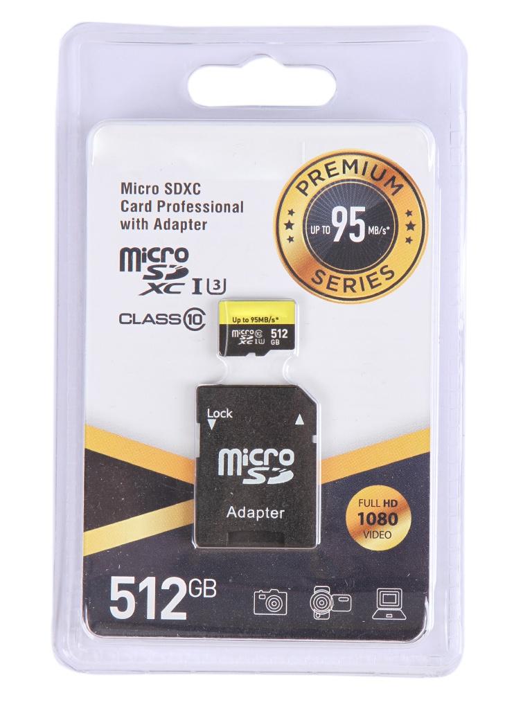 Карта памяти 512Gb - Exployd Micro Secure Digital XC Class 10 UHS-1 Premium EX512GCSDXC10UHS-1-ElU3 с переходником под SD карта памяти 64gb leef micro secure digital xc class 10 lfmsd 06410r