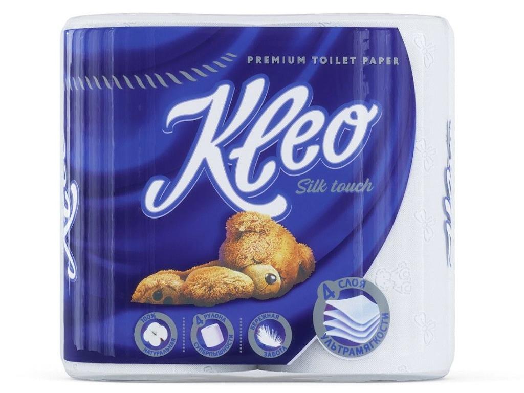 Туалетная бумага Мягкий знак Kleo Silk Touch 4-х-слойная 4 рулона С200