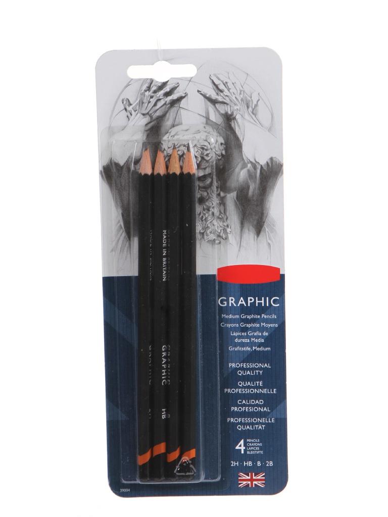 Набор чернографитных карандашей Derwent Graphic Medium 4шт 39004