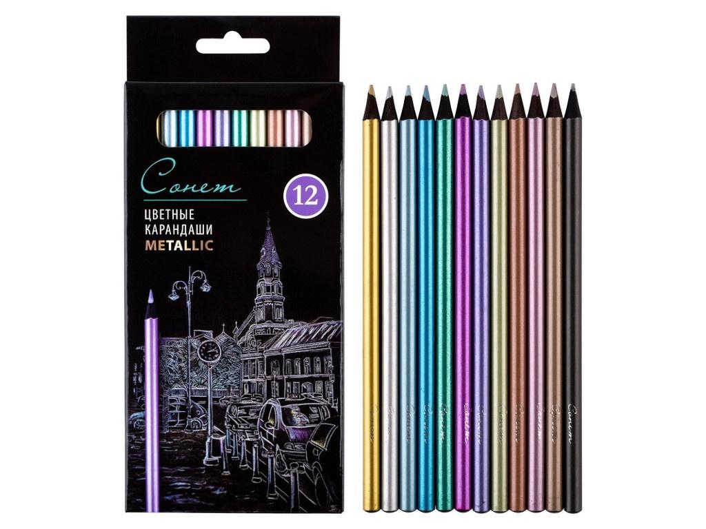 Набор цветных карандашей Невская Палитра Сонет 12 цветов 131411234
