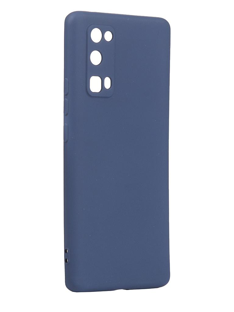 Чехол с микрофиброй DF для Honor 30 Pro Plus Silicone Blue hwOriginal-13