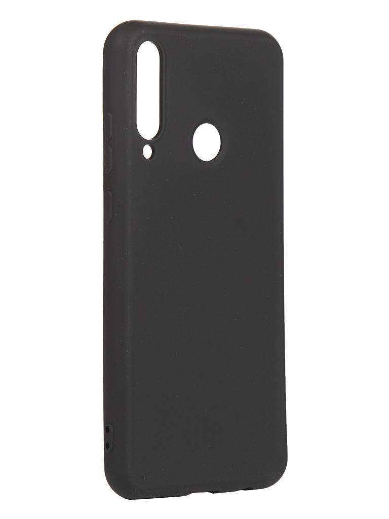 Чехол с микрофиброй DF для Huawei Y6p Silicone Black hwOriginal-15