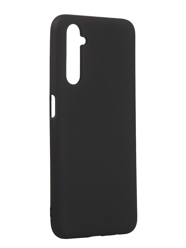 Чехол с микрофиброй DF для Realme 6 Silicone Black rmOriginal-01