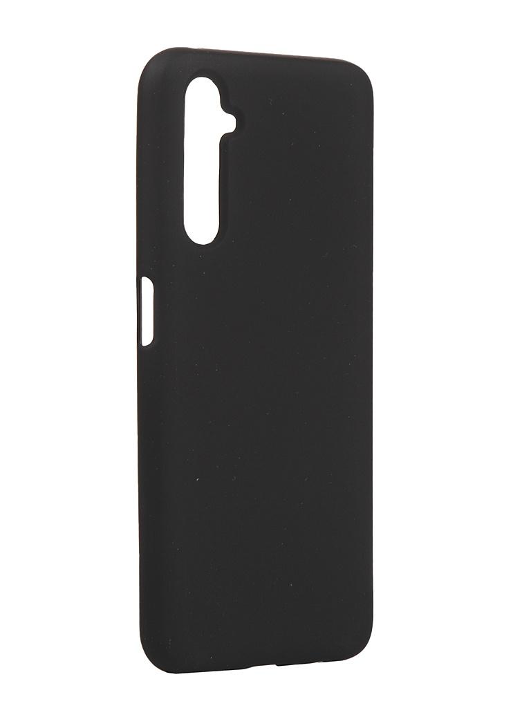 Чехол с микрофиброй DF для Realme 6 Pro Silicone Black rmOriginal-02