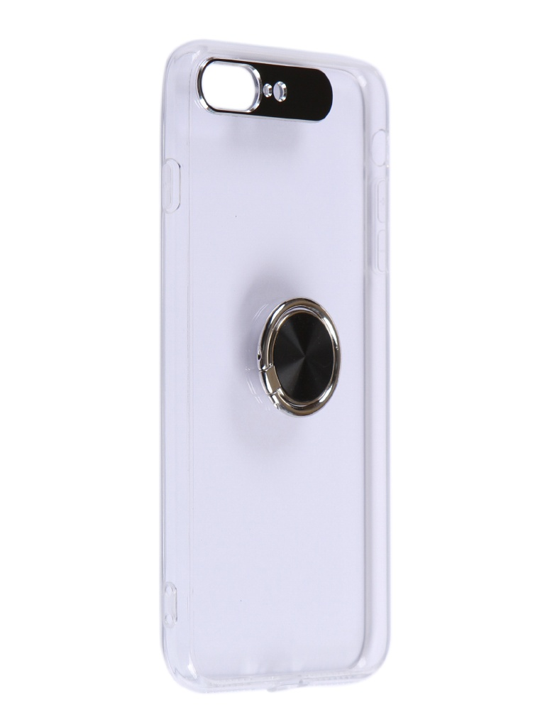 Чехол DF для APPLE iPhone 7 Plus/8 Plus Plastic + Silicone с кольцом-держателем Transparent-Black iTRing-04