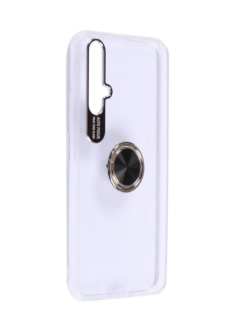 Чехол DF для Honor 20 Plastic + Silicone с кольцом-держателем Transparent-Black hwTRing-05