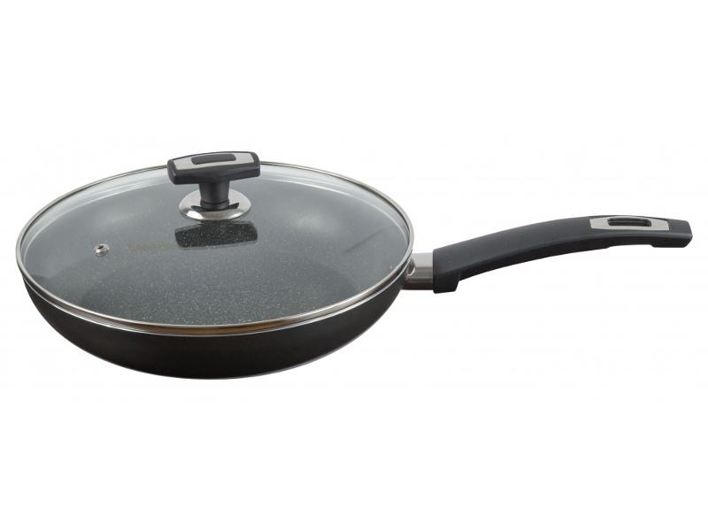 Сковорода Калитва Black Stone 28cm со стеклянной крышкой 3872835