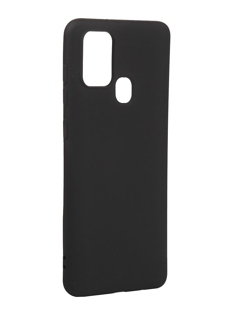 Чехол с микрофиброй DF для Samsung Galaxy A21s Silicone Black sOriginal-14