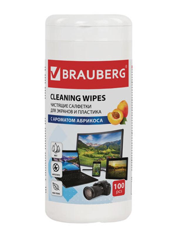 Фото - Чистящие салфетки для экранов и пластика Brauberg с ароматом абрикоса 100шт 513321 пружины для переплета brauberg 100шт 6mm blue 530905