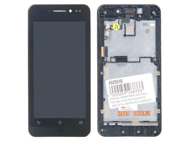 Дисплей RocknParts для ASUS ZenFone 4 A450CG в сборе с тачскрином и передней панелью Black 529245