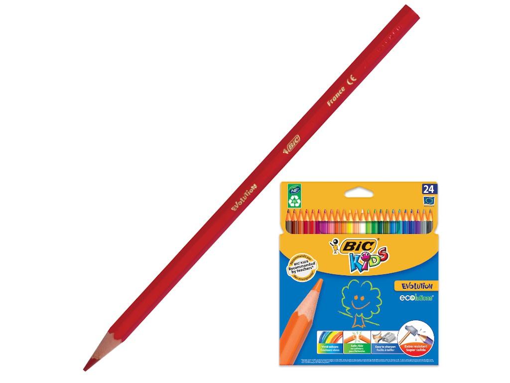 Карандаши цветные Bic Kids Ecolutions Evolution 24 цвета 937515