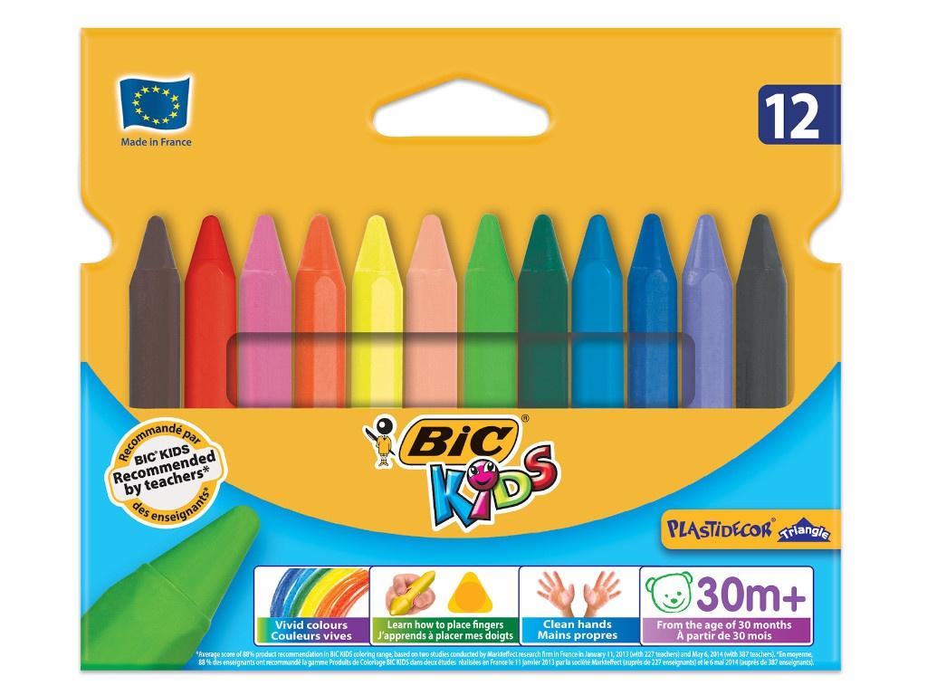 Мелки пластиковые Bic Plastidecor 12 цветов 829773