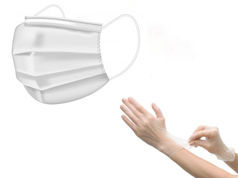 Маска медицинская одноразовая в наборе с перчатками