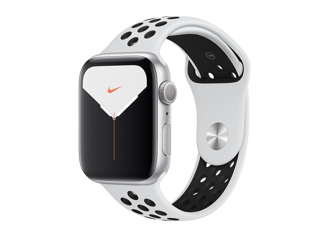 Умные часы APPLE Watch Nike Series 5 44mm Silver Aluminium with Pure Platinum-Black Nike Sport Band SM - ML MX3V2RU/A Выгодный набор + серт. 200Р!!! часы apple watch series 5 gps 40mm aluminum case with nike sport band серебристый чистая платина черный