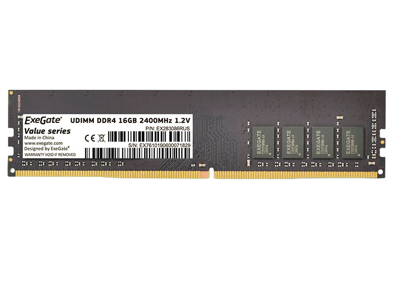 Модуль памяти ExeGate Value DIMM DDR4 2400MHz PC4-19200 CL17 - 16Gb EX283086RUS