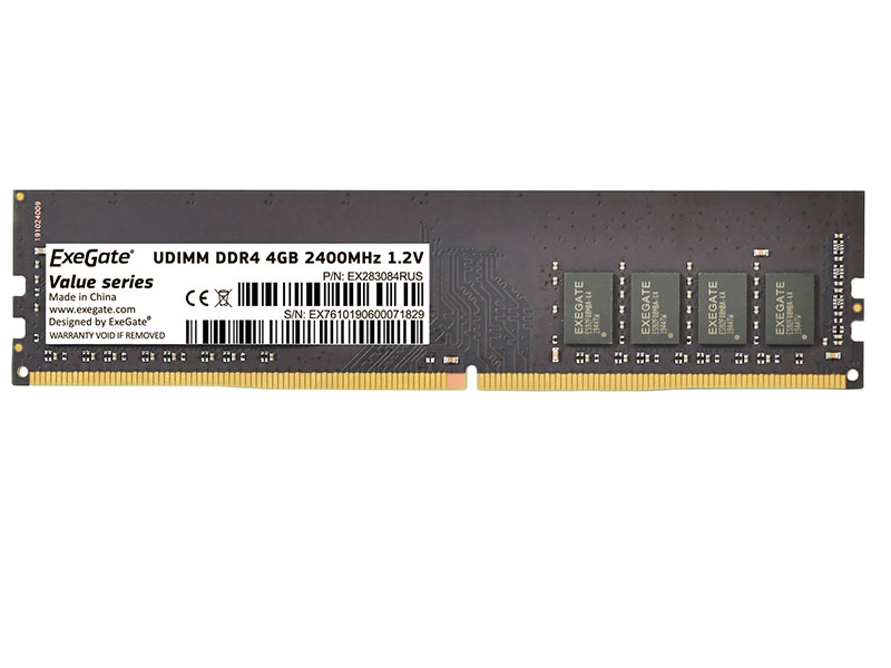 Модуль памяти ExeGate Value DIMM DDR4 2666MHz PC4-21300 CL19 - 4Gb EX283081RUS