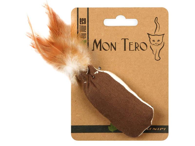 Игрушка для кошек Mon Tero Эко мешочек с перьями кошачьей мятой Brown-White 51488
