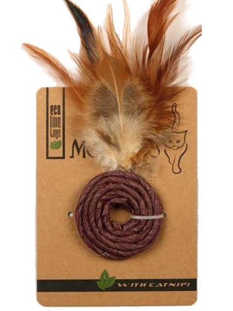 Игрушка для кошек Mon Tero Эко колечко с перьями кошачьей мятой Violet 51490