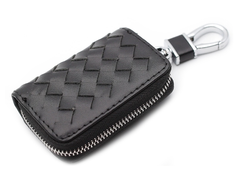 Ключница Mashinokom Плетенка Leather Black AKP 001