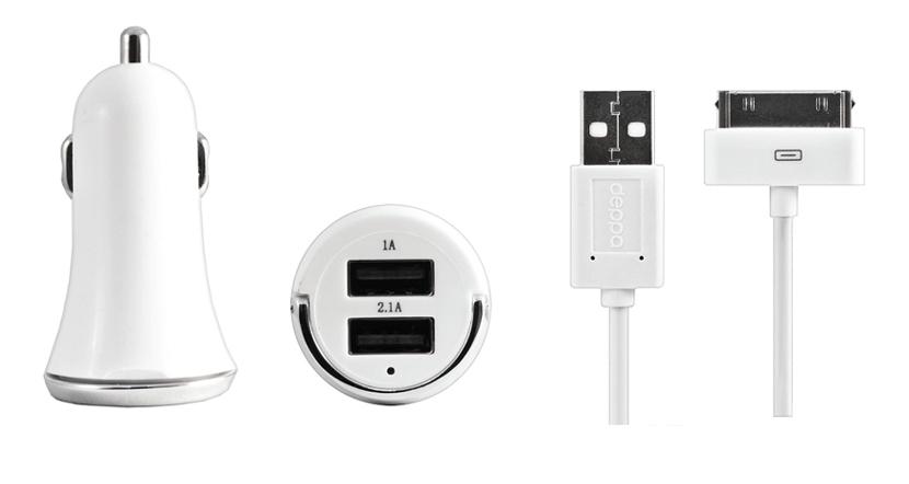 Аксессуар Deppa Ultra 2100 mA 2xUSB White автомобильное + Кабель USB Deppa Data Cable для iPhone / iPod / iPad 11205