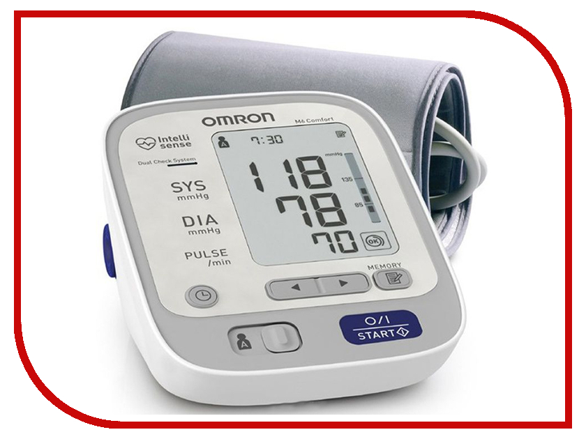 Тонометр Omron M6 Comfort HEM-7223-ARU с адаптером и универсальной манжетой omron m6 hem 7213 aru blood pressure monitor home health care monitor heart beat meter machine tonometer automatic digital