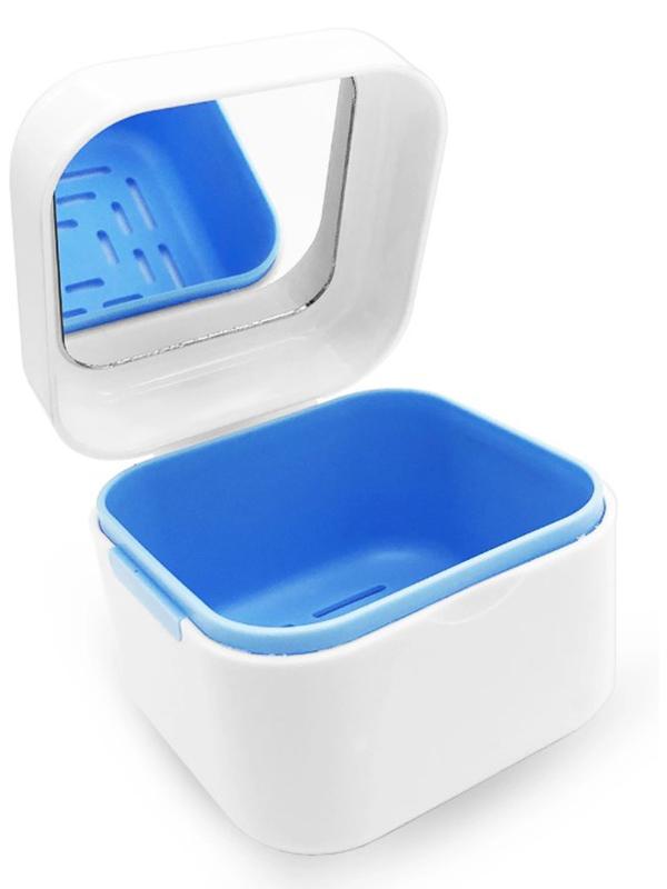 Контейнер для хранения протезов Dentalpik DP2 с зеркалом Ligh Blue 05.4358