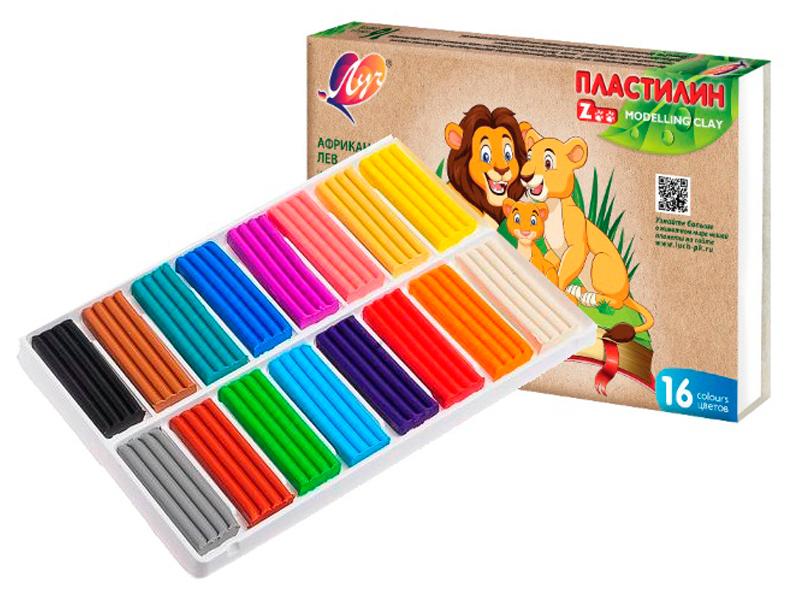 Набор для лепки Луч Пластилин классический Zoo 16 цветов 240г 29С 1723-08