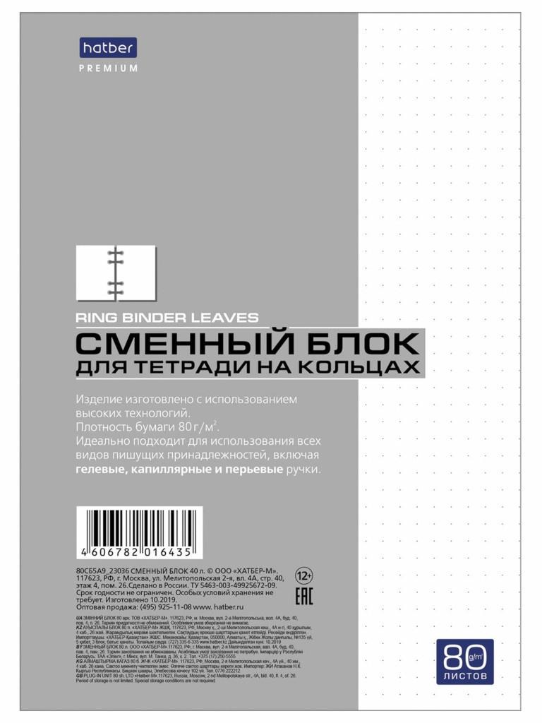 Сменный блок к тетради на кольцах Hatber Premium A5 80 листов White 80СБ5A9_23036