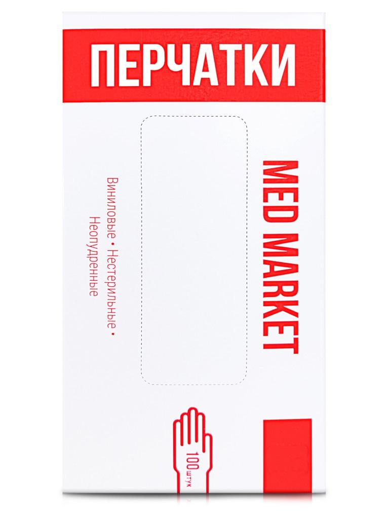 Перчатки виниловые Medmarket неопудренные размер L 50пар 100шт White