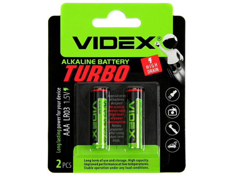 Батарейка AAA - Videx LR3 Turbo VID-LR3T-2BC (2 штуки)