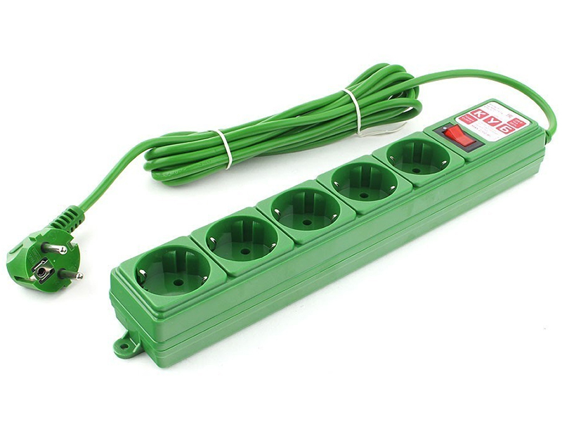 Сетевой фильтр Power Cube 5 Sockets 3.0m Green SPG-MXTR-13