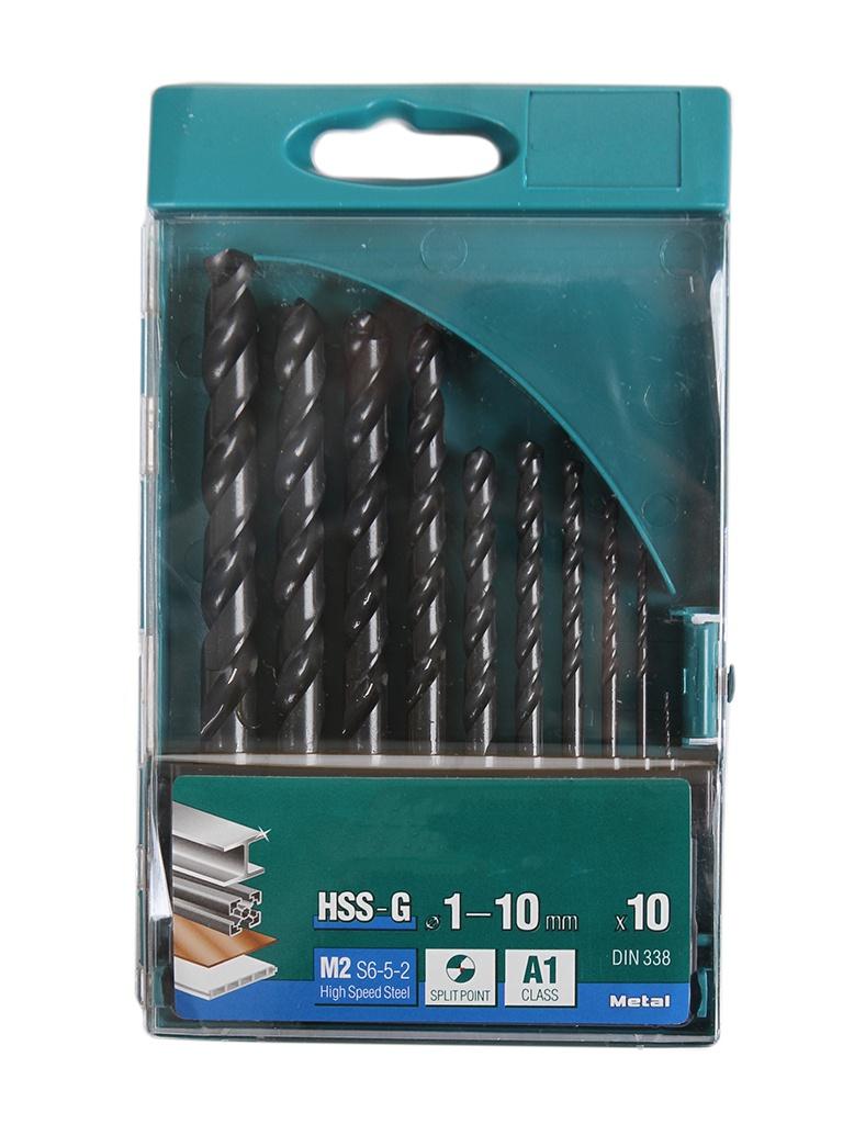 Набор сверл Kraftool по металлу HSS-G 1-10mm 10шт 29651-H10 набор сверл sturm по металлу 1 0 10mm 19шт 1055 03 ss3
