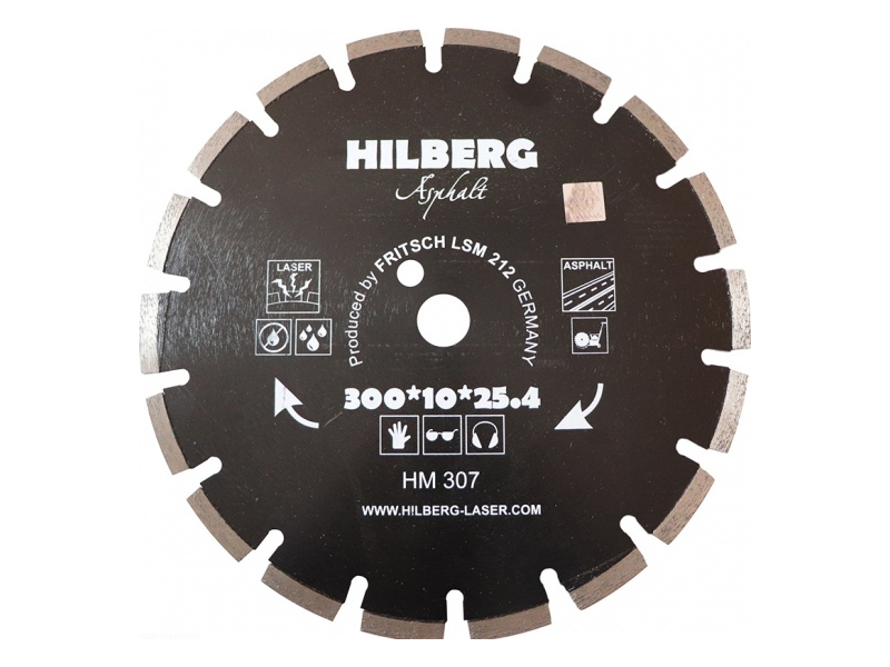 Диск Trio Diamond Hilberg Asphalt Laser HM307 алмазный по асфальту 300x10x25.4/12mm