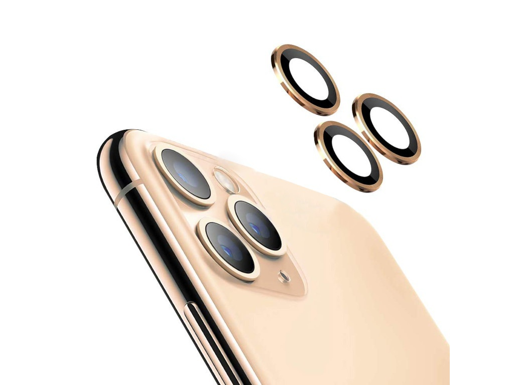 Защитное стекло Hoco для камеры APPLE iPhone 11 Pro/11 Pro Max 3D Metal Frame Flexible Lens Film A18 0.3mm Gold 0L-00044733