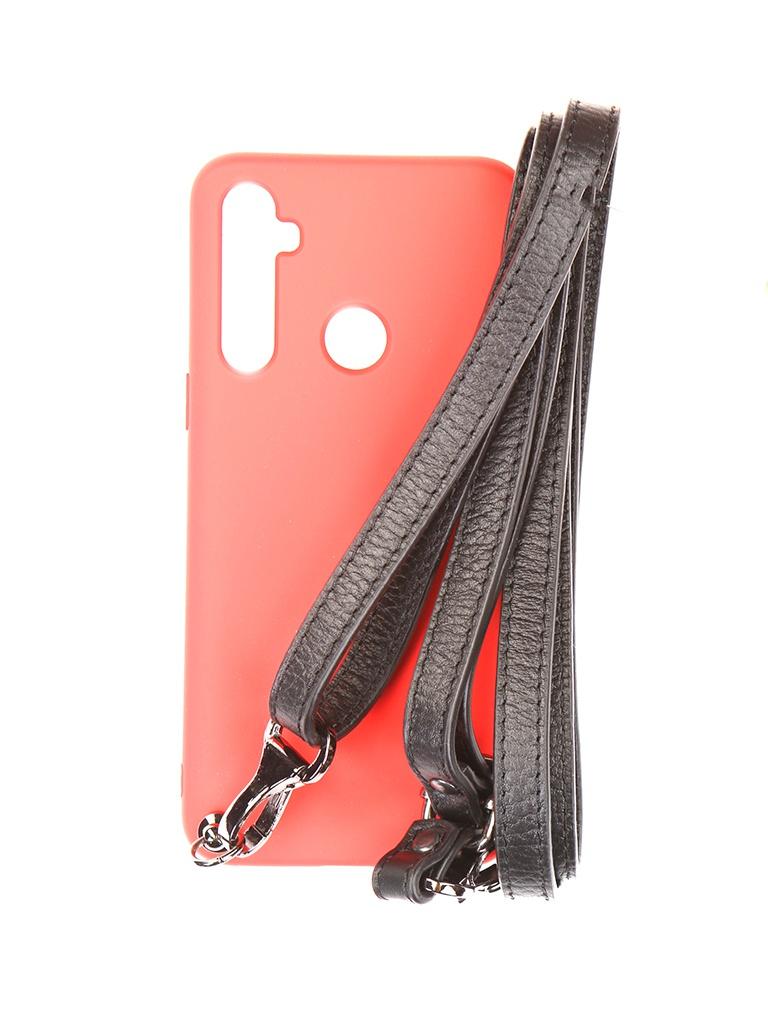 Чехол Ally для Realme 5 А1 Soft Touch с ремешком Red A1-01149