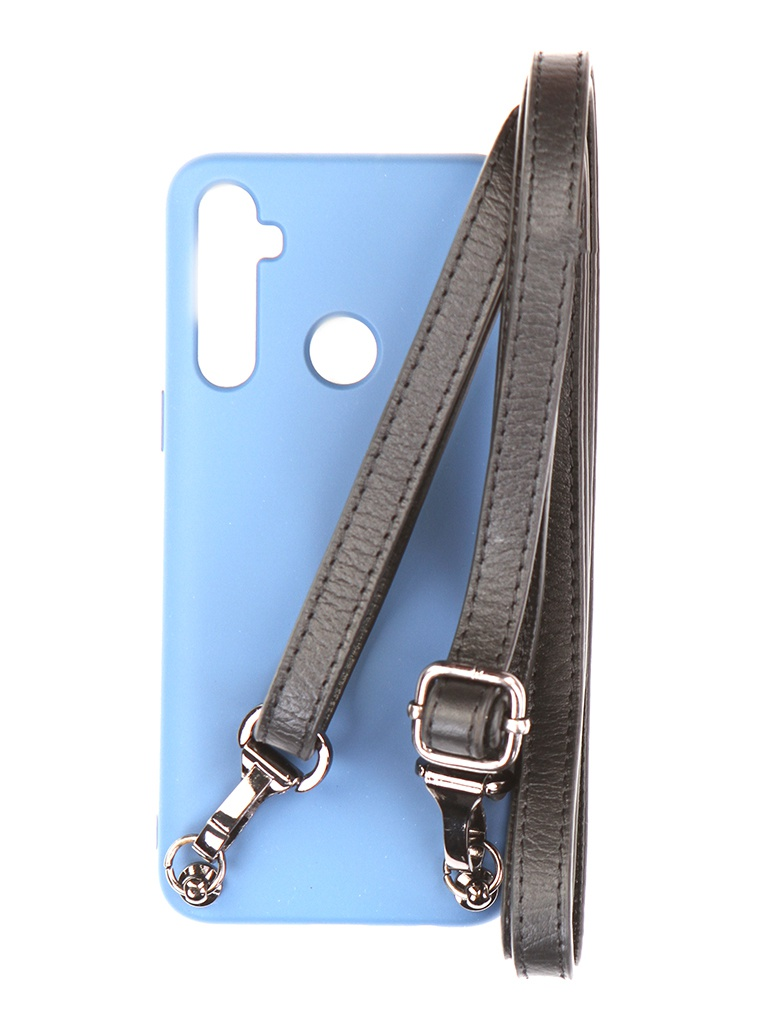 Чехол Ally для Realme 5 А1 Soft Touch с ремешком Blue A1-01150