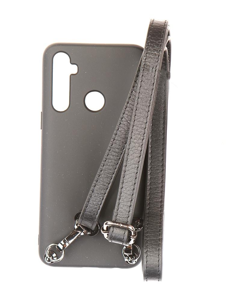 Чехол Ally для Realme 5 А1 Soft Touch с ремешком Black A1-01151