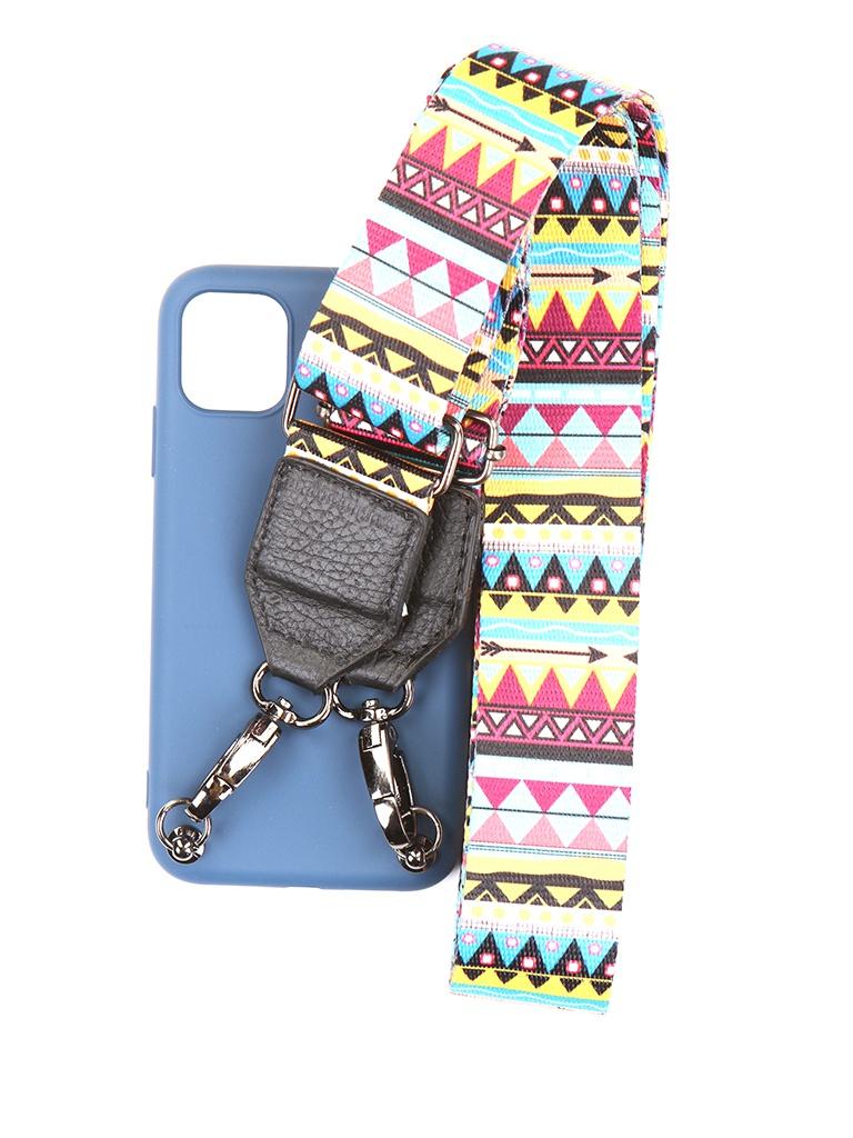 Чехол Ally для IPhone 11 А4 Soft Touch с ремешком Blue A4-01102