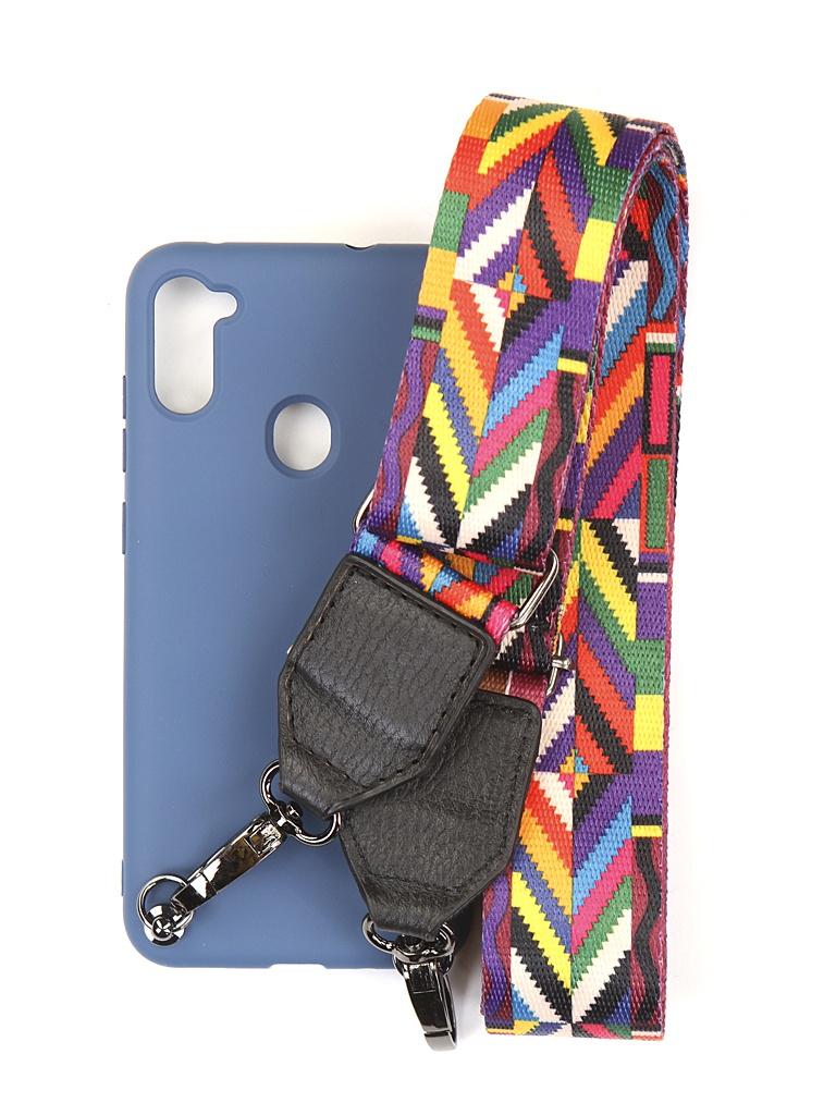 Чехол Ally для Samsung M115/A115 Galaxy M11/A11 А5 Soft Touch с ремешком Blue A5-01116