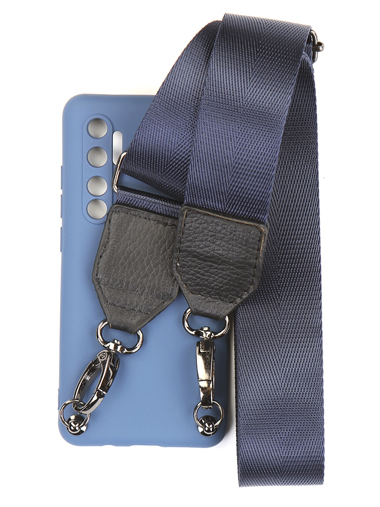 Чехол Ally для Xiaomi Mi Note 10 Lite А6 Soft Touch с ремешком Blue A6-01126