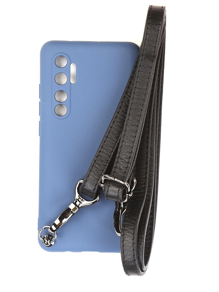 Чехол Ally для Xiaomi Mi Note 10 Lite А1 Soft Touch с ремешком Blue A1-01126