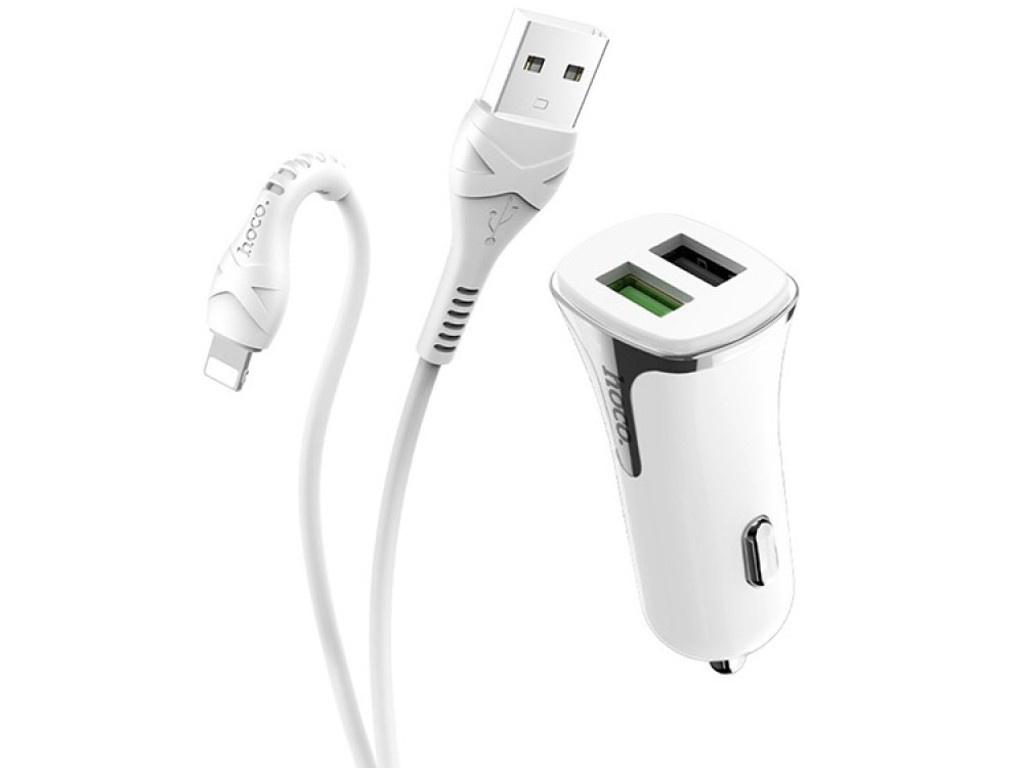Зарядное устройство Hoco Z31 Universe 2xUSB QC3.0 + кабель Lightning White