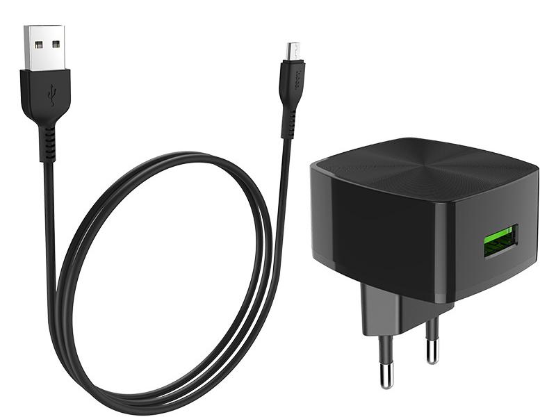 Зарядное устройство Hoco C70A Cutting-Edge 1xUSB QC3.0 + кабель MicroUSB Black