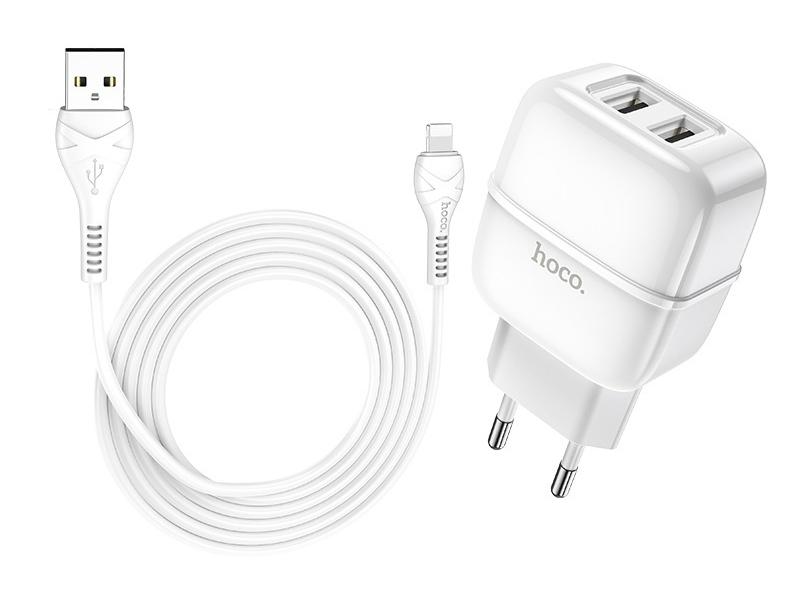 Зарядное устройство Hoco C77A Highway 2xUSB + кабель Lightning White