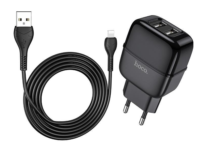 Зарядное устройство Hoco C77A Highway 2xUSB + кабель Lightning Black
