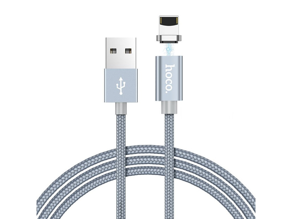 Аксессуар Hoco U40A Magnetic Adsorption USB - Lightning 1.0m Grey