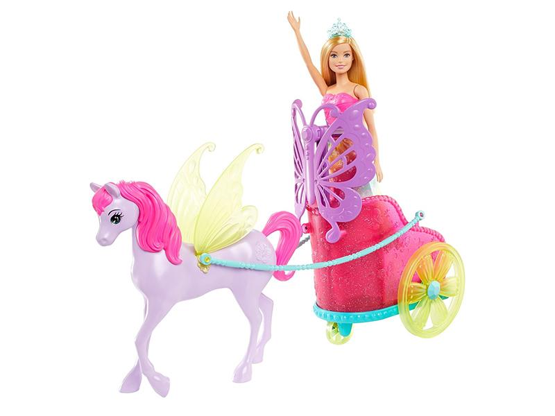 Кукла Mattel Barbie Сказочный экипаж с единорогом GJK53