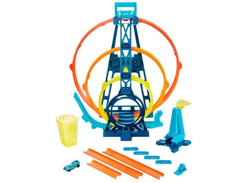 Автотрек Mattel Hot Wheels Конструктор трасс Тройная петля GLC96